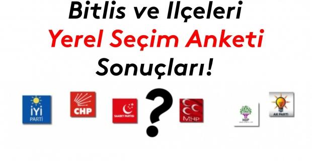 Bitlis ve ilçeleri seçim anketi sonuçları!