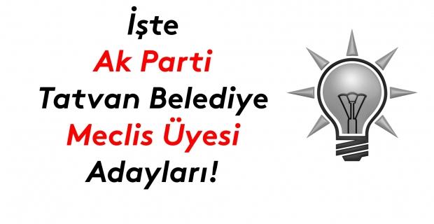 İşte Ak Parti Tatvan Belediye meclis üyesi adayları listesi!