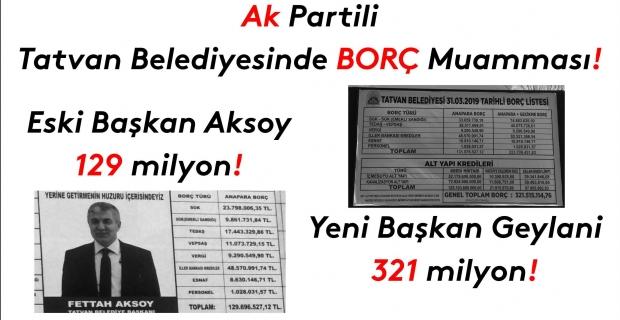 Ak Partili Tatvan Belediyesinde borç muamması!