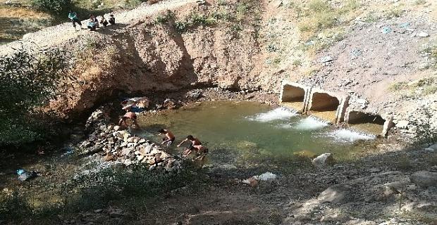 Bitlisli çocuklar yüzmeyi derede öğreniyor