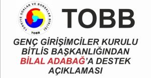 TOBB Genç Girişimciler Kurulu'ndan Bilal Adabağ'a destek